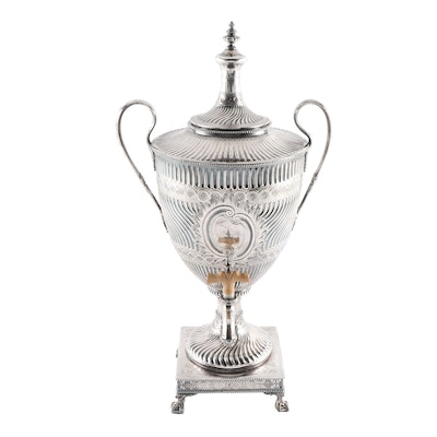 Engraved Silver Plate Tea Urn with Personalized Dedication, Early 20th Century