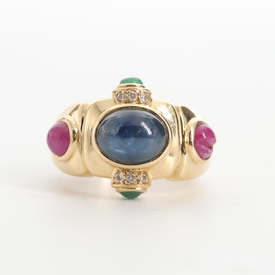 14K Yellow Gold Sapphire, Emerald and Ruby Ring