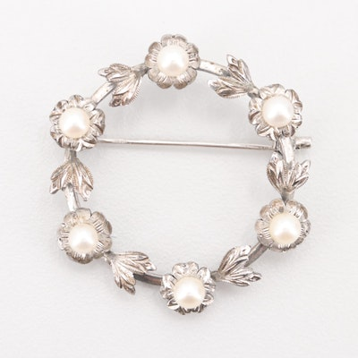 Mikimoto Sterling Silver Cultured Pearl Floral Brooch