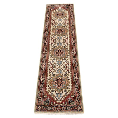 Hand-Knotted Indo-Persian Heriz Serapi Carpet Runner