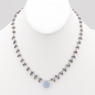 Gold Tone Faceted Blue Quartz Bead Necklace