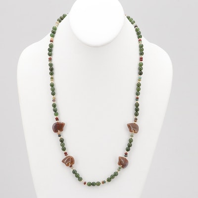 Gold Tone Nephrite and Agate Bead and Jasper Bear Necklace