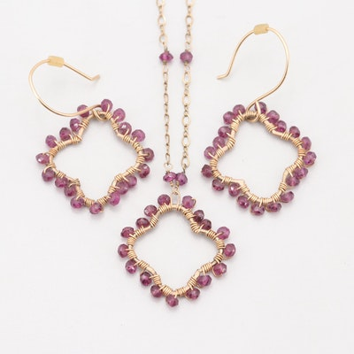 Laura J Gold Tone Purple Faceted Glass Jewelry Set