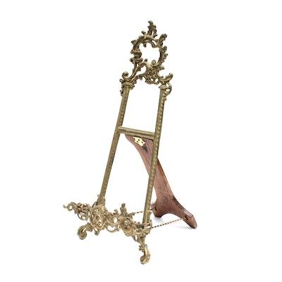 Gilt Iron and Wood Display Easel