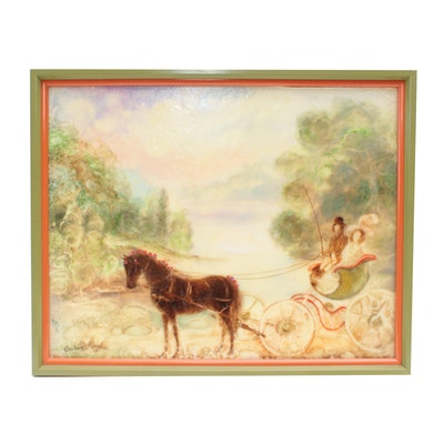 Barbara Mayer Oil Painting of Horse and Carriage