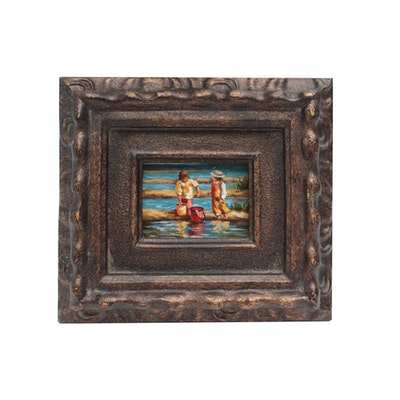 Late 20th Century Miniature Figural Oil Painting