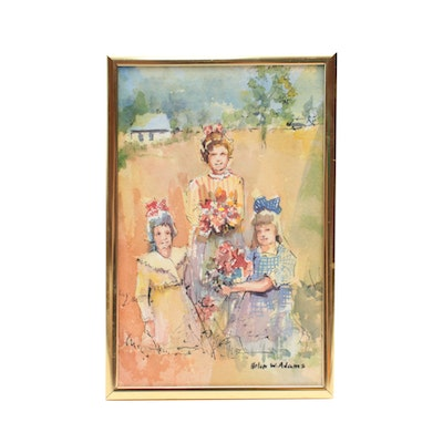 Helen W. Adams Miniature Watercolor Painting of Three Girls