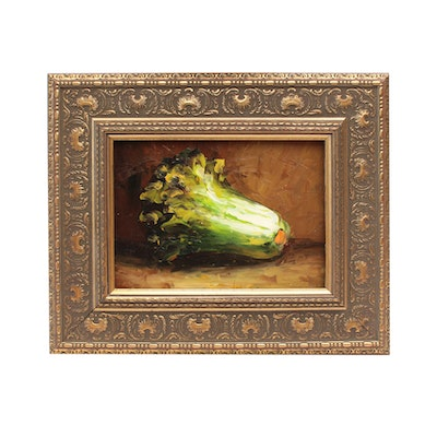 Late 20th Century Oil Painting of Romaine Lettuce