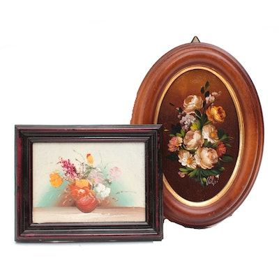Late 20th Century Miniature Floral Still Life Oil Paintings