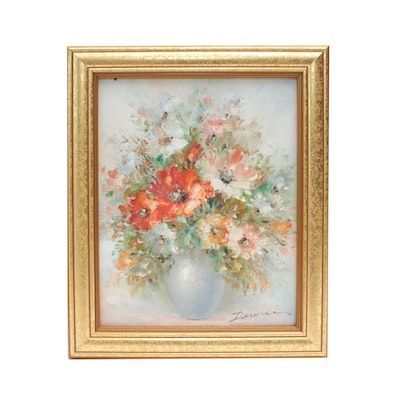 Late 20th Century Floral Still Life Oil Painting
