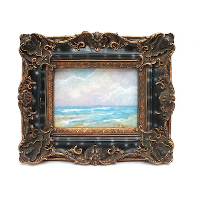"Robert Riddle Miniature Acrylic Painting ""Beach Day"""