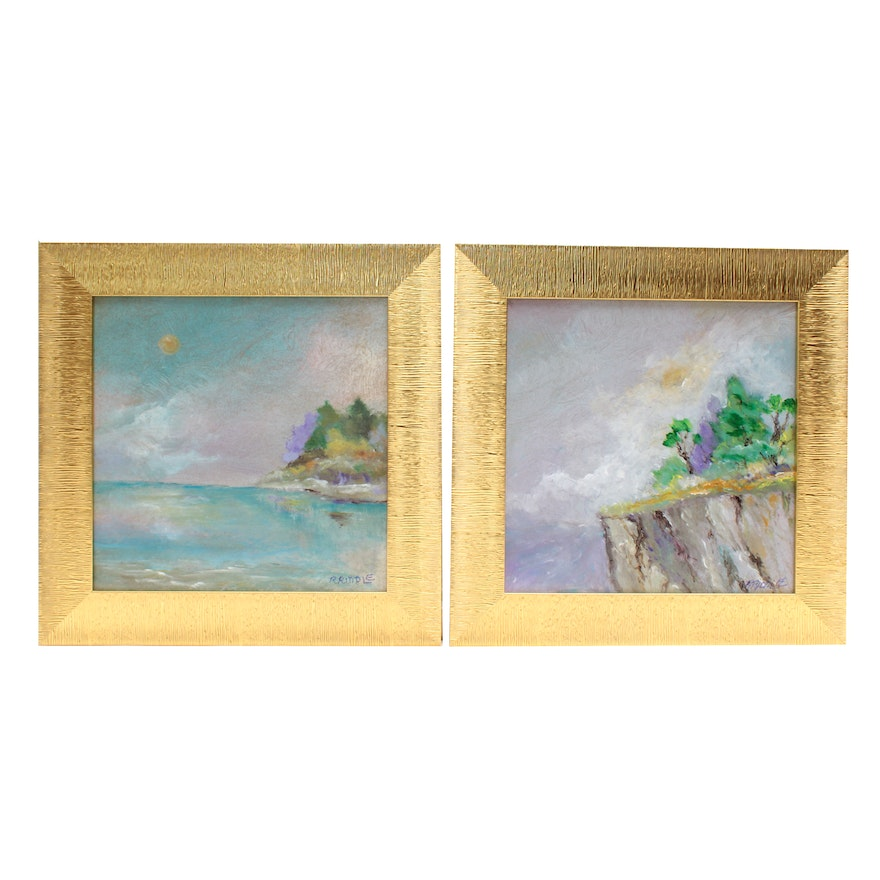 "Robert Riddle Acrylic Paintings ""Full Face Moon"" & ""A Mountain Overlook"""