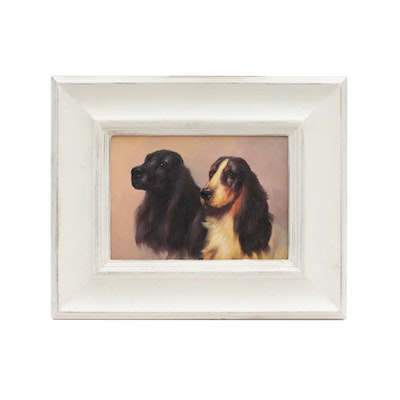 Miniature Oil Painting of Spaniels, Mid-to-Late 20th Century