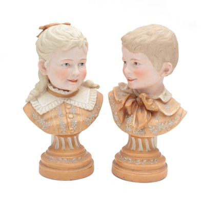Porcelain Bust of Young Girl and Bust of Young Boy