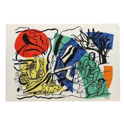 """Fernand Leger Color Lithograph for """"Derrière le Miroir"""" """"La Partie de Campagne"""""""