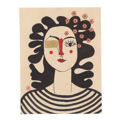 "Francois Aguiard Mixed Media Portrait Painting ""Francoise Gilot"""
