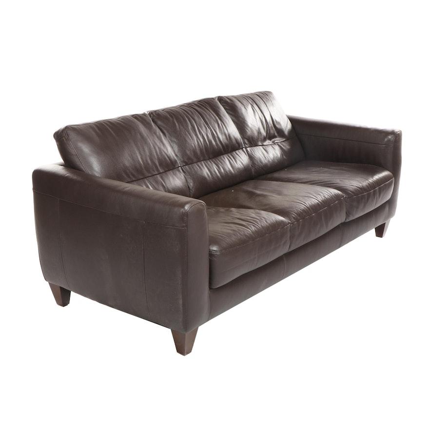 Natuzzi Contemporary Brown Leather Sofa
