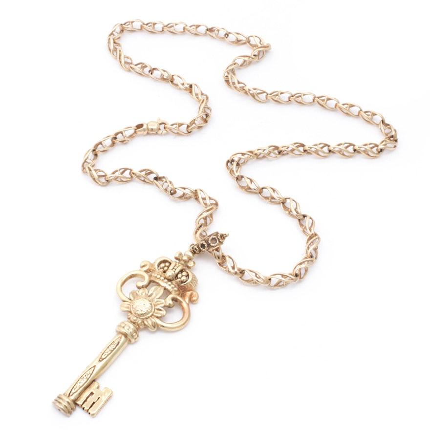 Italian 14K Yellow Gold Key Pendant Necklace