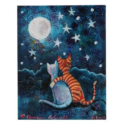 "Christina Colwell Folk Art Acrylic Painting ""Two Romancing Kitties"""