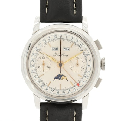 Vintage Breitling Datora Stainless Steel Chronograph and Moonphase Wristwatch