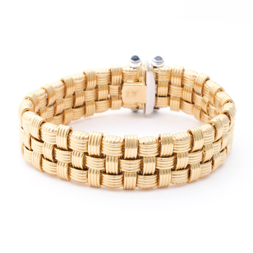 18K Yellow Gold Basket Weave Bracelet with 18K White Gold Sapphire Clasp