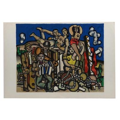 """Fernand Leger Color Lithograph for Derriere le Miroir """"Les Musiciens"""""""