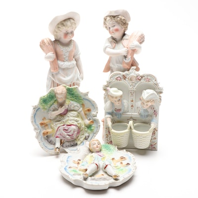 Ceramic Figurines and Wall Hangings Including Occupied Japan, Mid 20th Century