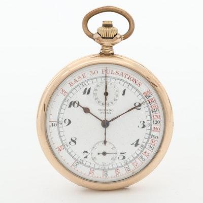 Vintage Movado Swiza Gold Tone Pulsating Pocketwatch