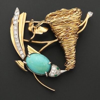 14K Gold and Platinum Bird Brooch with Howlite, Diamond, Cultured Pearl, Glass