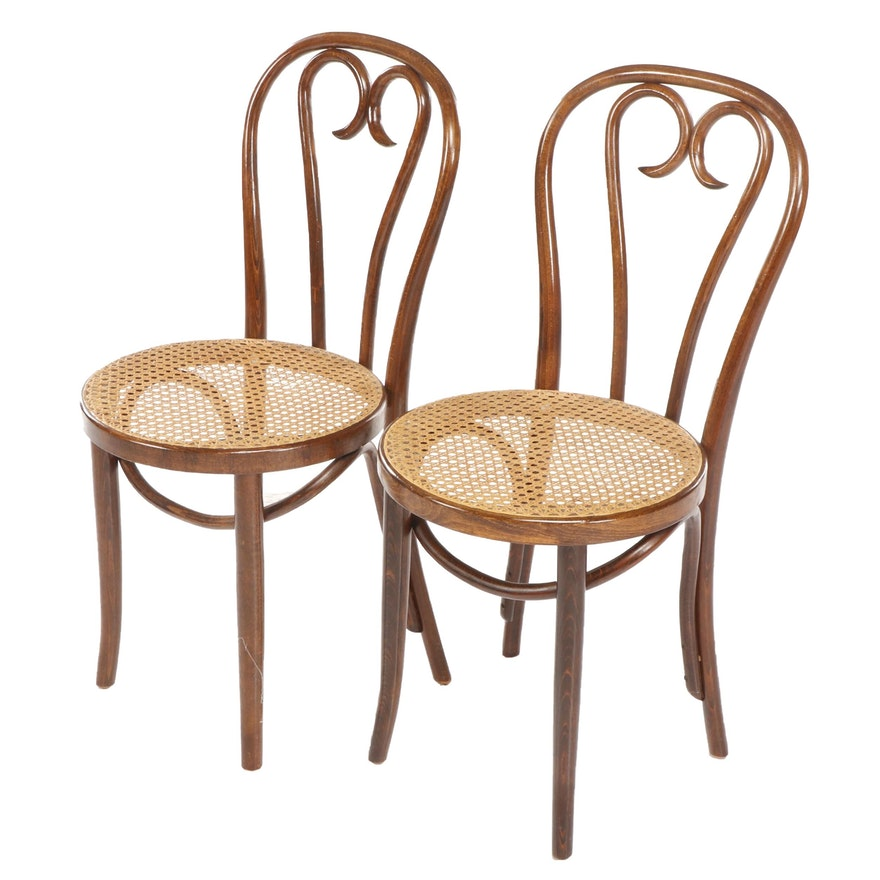 Pair of Romanian Bentwood Chairs with Cane Seats after Thonet