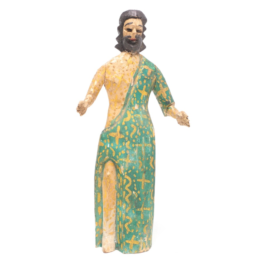 Wooden Hand-Carved Jesus Figurine, Mid to Late 20th Century