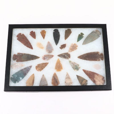 Twenty-Seven Native American Style Arrowheads in a Glass Display Box