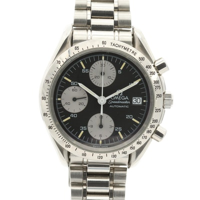Omega Speedmaster Date Automatic Stainless Steel Wristwatch