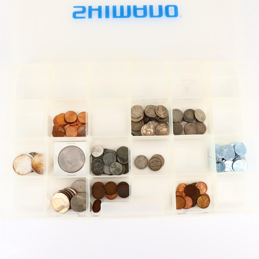 Collection of 185 U.S. Coins in Shimano Box
