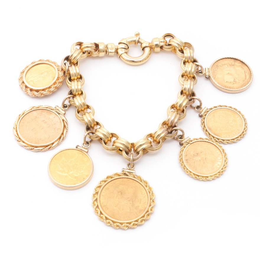 14K Gold Bracelet with International Gold Coin Charms