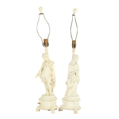 Composition Figural Table Lamps, Early 20th Century