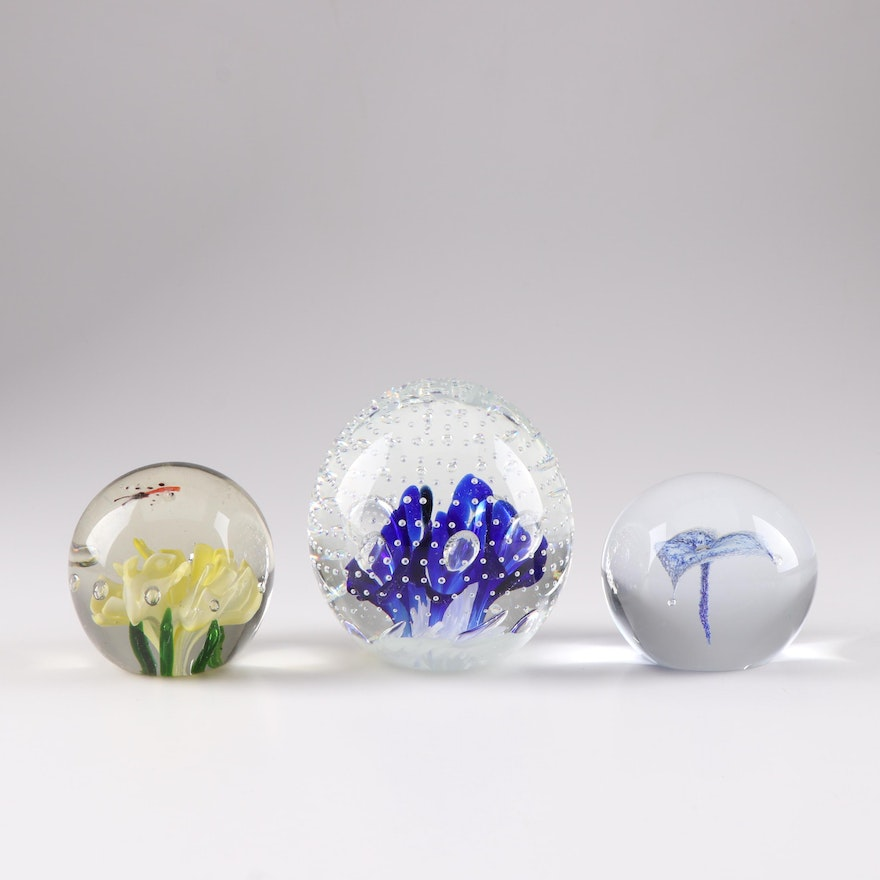 Art Glass Paperweight Grouping Featuring Joe St  Clair