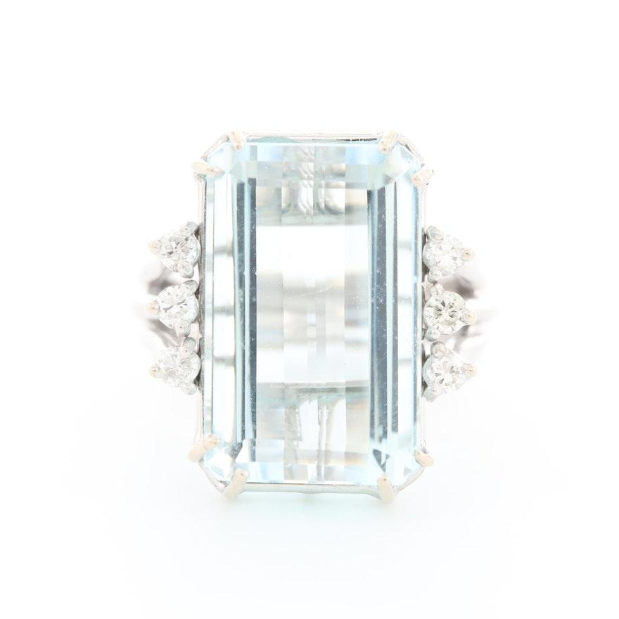 14K White Gold 13.15 CT Aquamarine and Diamond Ring