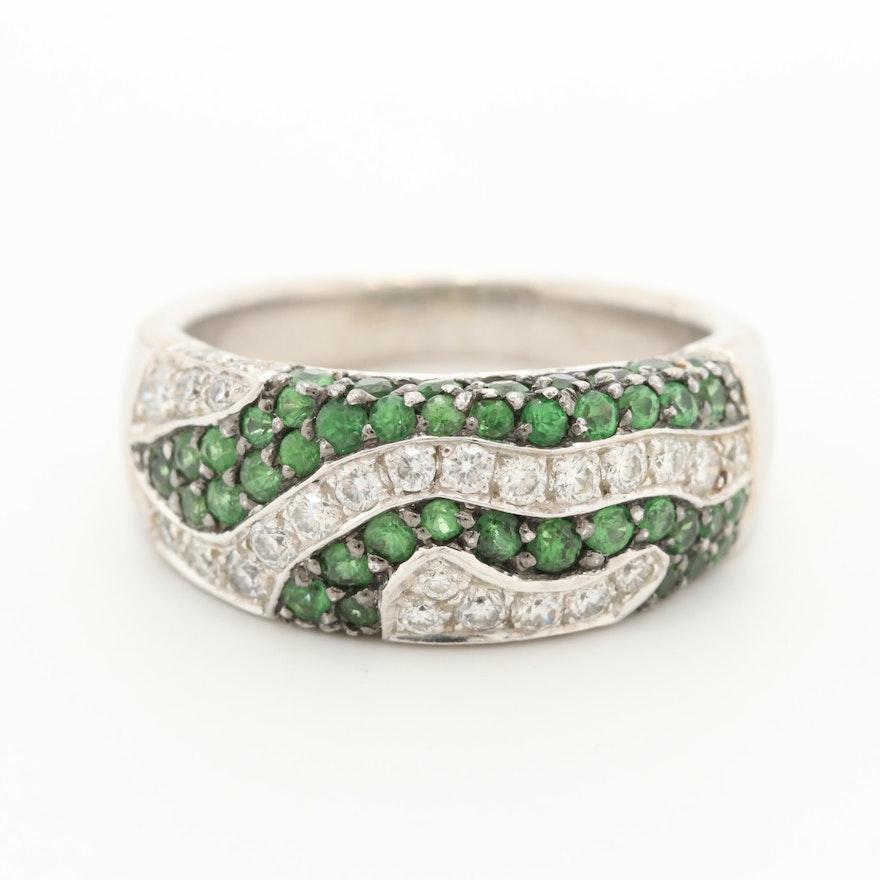 18K White Gold Tsavorite Garnet and Diamond Ring