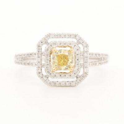 18K White Gold 1.21 CTW Diamond with Diamond Halo Ring