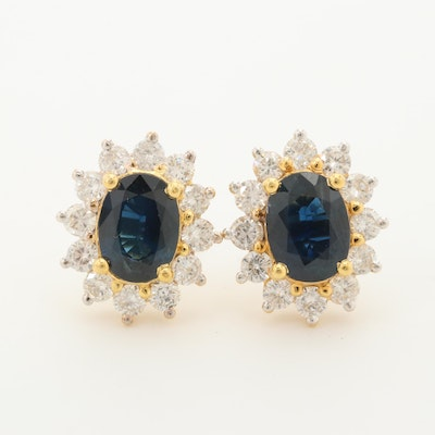 18K Yellow Gold Blue Sapphire and 1.08 CTW Diamond Earrings