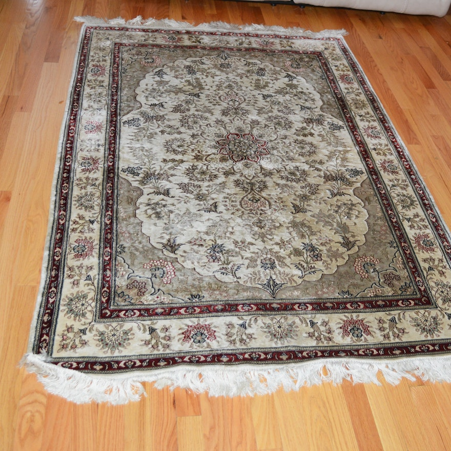 Hand-Knotted Indo-Persian Silk Blend Rug