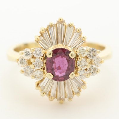 14K Yellow Gold Ruby and 1.16 CTW Diamond Ring