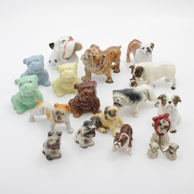 Porcelain and Ceramic Bulldog Figurines and Salt and Pepper Shakers