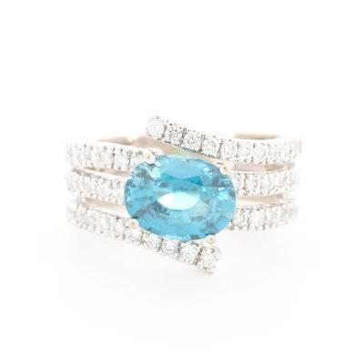 18K White Gold Zircon and Diamond Ring