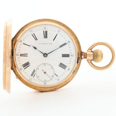 14K Yellow Gold Ch. Tissot & Chie Hunter Case Pocket Watch
