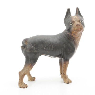 Hubley Style Cast Iron Boston Terrier Doorstop, Early to Mid 20th Century
