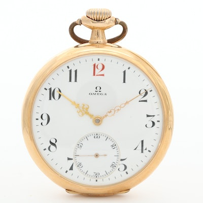 Antique Omega 18K Yellow Gold and Gold Filled Open Face Pocket Watch, Circa 1918