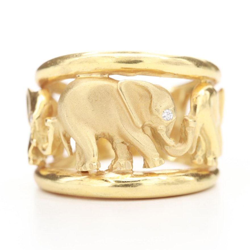 18K Yellow Gold Openwork Elephant Ring