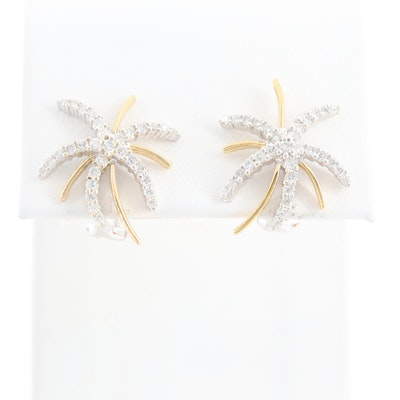 18K White Gold Diamond Earrings with Yellow Gold Accents